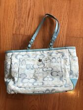 Coach 6429 Diaper Bag Signature Optic Baby Blue Tote Bag