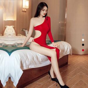 Womens Sexy-Lingerie Cheongsam High Cut Dancing Party Clubwear Shiny Long Dress