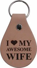 I Love My Awesome Wife Leather Key Chain - Great Gift for Mothers's Day