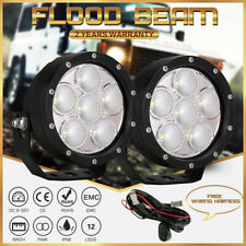 NEW CREE 2PCS 5inch Round LED Driving Lights Black Flood Beam Truck Offroad 4WD