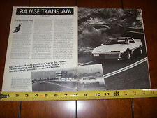 1984 MSE PONTIAC TRANS AM MECHAM - ORIGINAL ARTICLE