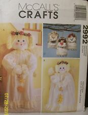 McCalls Christmas Crafts Sewing Pattern 2992 Angels Uncut Wall Hanging Ornaments