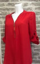 ATMOSPHERE CHIFFON ZIP FRONT 3/4 SLEEVE TUNIC SZ 10 BNWT
