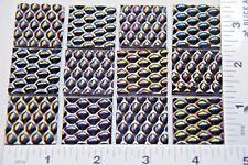 """12 Radium Ripple Textured 1"""" x 1"""" Black Uroboros Glass Squares 90 Coe"""