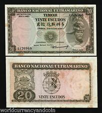 TIMOR INDONESIA 20 ESCUDOS P26 1967 SHIP PORTUGAL UNC TONE CURRENCY MONEY NOTE