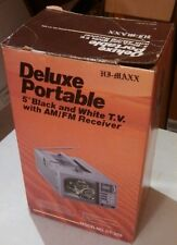 Vintage hj maxx deluxe portable black and white TV am/FM receiver in box