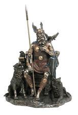 Norse God Odin w/ Wolves  & Crows Statue Sculpture Figurine Bronze