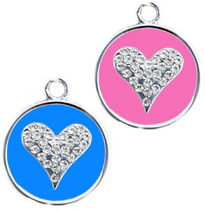 CAT DOG PET TAG ID  ROUND LOVE HEART DIAMANTE BLING CRYSTAL FREE ENGRAVING