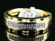 Yellow Gold Finish Mens Round Diamond Pave Set Engagement Wedding Band Ring