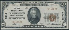 FR1802-I $20.00 1929 NATIONAL WASHINGTON, DC ORIGINAL UNC CH #5046 HV7386
