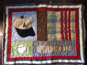 Pottery Barn Kids Pair (2) of Baseball Quilted cotton Standard Pillow Sham Case