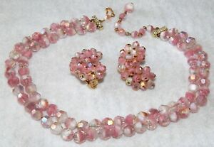 Vintage ALICE CAVINESS  Aurora Borealis Pink Crystal Necklace and Clip Earrings