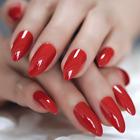 STILETTO *DARK RED* Full Cover Press On 24 Nail Tips + Glue!