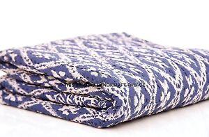 Queen Ikat Indigo Blue Kantha Quilt Indian Handmade Bedspread Throw Cotton Gudri