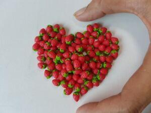 Mini Lot 50 Loose Fresh Strawberry Dollhouse Miniatures Food Deco Fruit Clay
