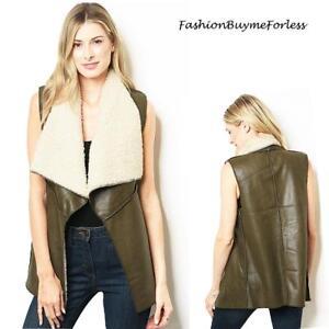 70'S Hippie Olive Faux Lamb Suede Shearling Sherpa Haute Jacket Vest S M L XL