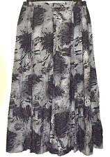 DOUBLE TWO Grey Black Lined Skirt Size 14 Long Dressy Panel Formal Aline Flippy