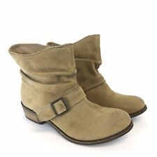 Mantaray Size UK7 Tan Leather Suede Ankle Slough Buckle Biker Booties Boots