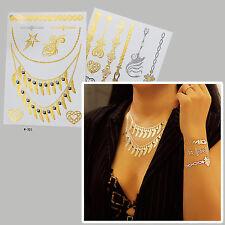 2 Blätter Einmal Tattoos GOLD Flash Tattoo Halskette Armkette Fiona Set A