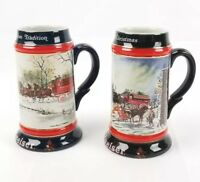 (Lot of 2) Budweiser Anheuser Busch 1990 1992 Christmas Beer Stein Tankard Mugs