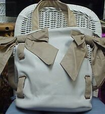 CHOCOLATE NEW YORK designer large white/tan shoulder bag/satchel/tote