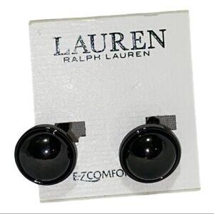 Lauren Ralph Lauren Dark Gray Hematite-Plated Sphere Clip-On Earrings New