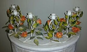 Rare Set of SIX Italian Orange Rose Tole Candle Holders Excellent Condition