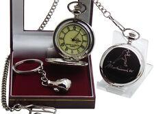Reloj de bolsillo Muhammad Ali Firmado y guante de boxeo llavero de lujo Conjunto de Regalo Funda