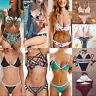 Womens Swimwear Bandage Padded Bra Swimsuit Push-up Bikini Set Bathing Beachwear