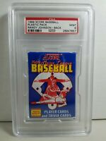 1989 Score Baseball Pack Randy Johnson Rookie Rc  on Back PSA  9 mint