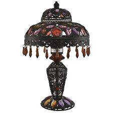 Unique Beaded Jewel Moroccan Table Lamp Bronze
