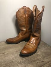 Ariat Heritage Brown Leather Cowboy Boots 15740 Womens 8.5B Blue Stitch EUC