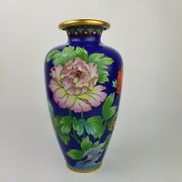 "Vintage Chinese Cloisonne 9"" Blue Vase Pink Red Poppy Flowers Floral Bird Aqua"