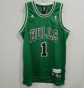 Rare Adidas Chicago Bulls  Derrick Rose 1 St. Patrick's Day Jersey Mens M Sewn