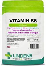 Vitamin B6 100mg (100 tablets) One-a-day energy, mood, PMS cramps [Lindens 0052]