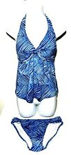 Lauren Ralph Lauren Blue Striped 2 Piece Tied Halter Tankini Swimsuit Size 10