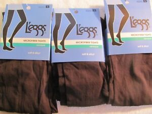 3 pair Leggs Microfiber Tights Opaque Soft & Silky Brown Size B   #032277