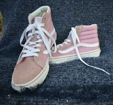 Vans Off The Wall Sk8 Hi Pink Canvas Suede High Top Skate Shoes Women's Size 8.5