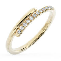 0.10 Ct Round Brilliant Cut Diamond Half Eternity Wedding Ring 18K Yellow Gold