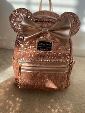 Rose Gold Sequin Disney Parks Loungefly Backpack With Tags