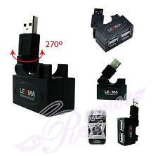 Lexma 4 Ports USB 2.0 Foldable Rotatable Connector 270° Mini Hub Black