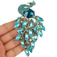 Large Peacock Blue Peafowl Bird Brooch Pin Austrian Crystal Fashion Accessories