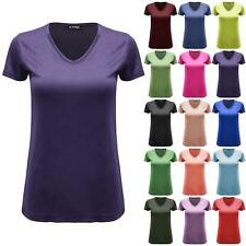 Womens Cap Sleeve Plain Ladies Basic Casual V Neck Baggy Jersey Tee T shirt Top