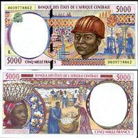 CENTRAL AFRICAN STATE (CAS) GABON 5000 5,000 FRANCS 2000 P 404 L CRISP XF/AU