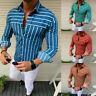 Luxury Men Stylish Casual Dress Slim Fit T-Shirt Long Sleeve Formal Striped Tops