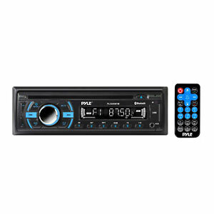 Pyle Single DIN Marine Bluetooth Stereo Receiver & CD Player with Remote, Black
