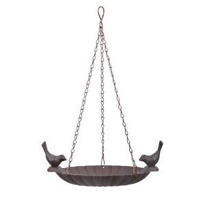 Cast Iron Hanging Bird Bath Feeder x 2 Birds Vintage Bronze Weatherproof-Gard...