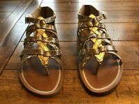 Tommy Bahama Womens Gold  LEATHER Zip Back Gladiator SUMMER Sandals, size 6
