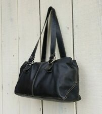 Fossil Black Leather Top Handle Shoulder Bag  Day Handbag Tote Purse