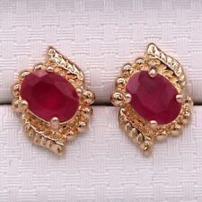 Great New 18K Yellow Gold Plated Ruby Red Oval CZ Stud Earrings